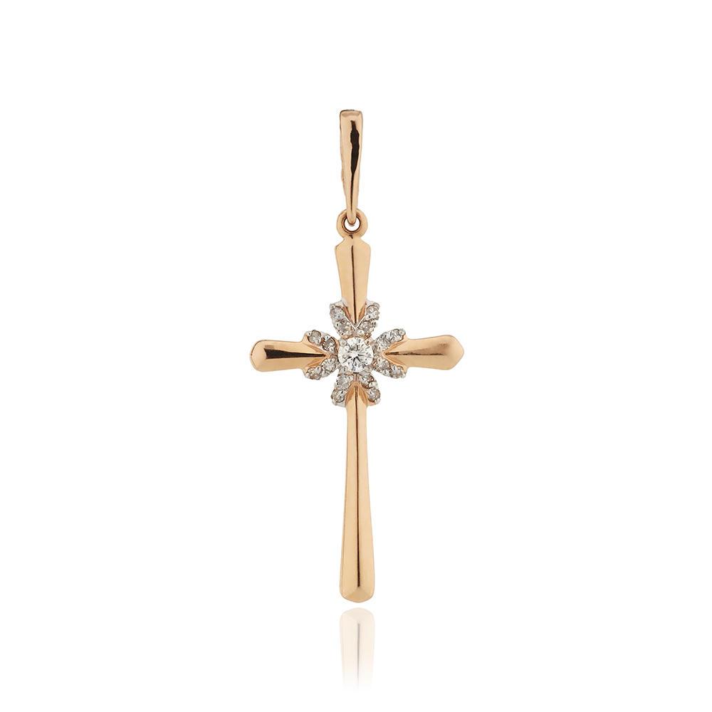 Крестик с бриллиантами из золота
