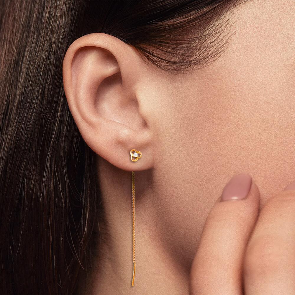 Серьги-продевки с фианитами из золота