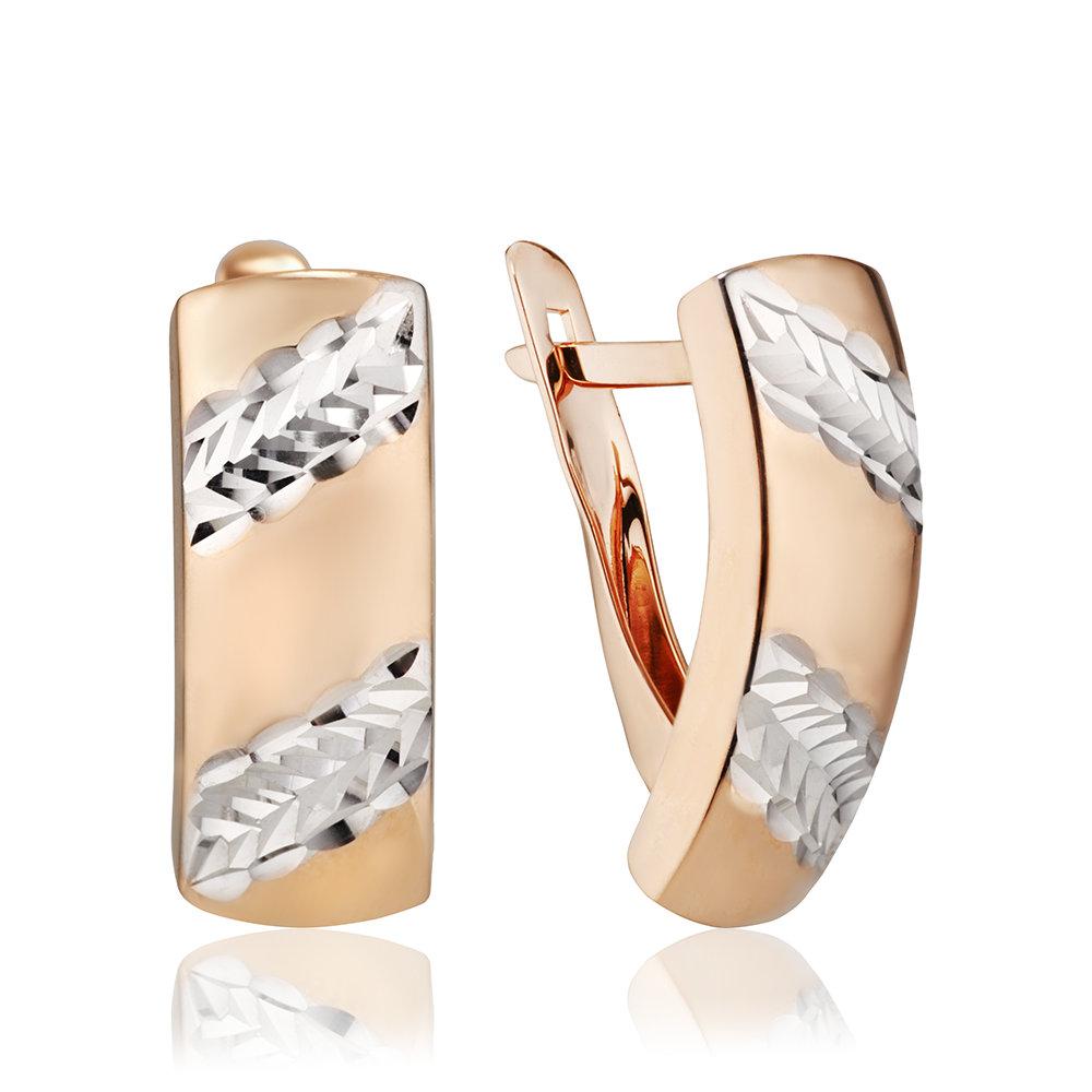Серьги с алмазной гранью и родированием