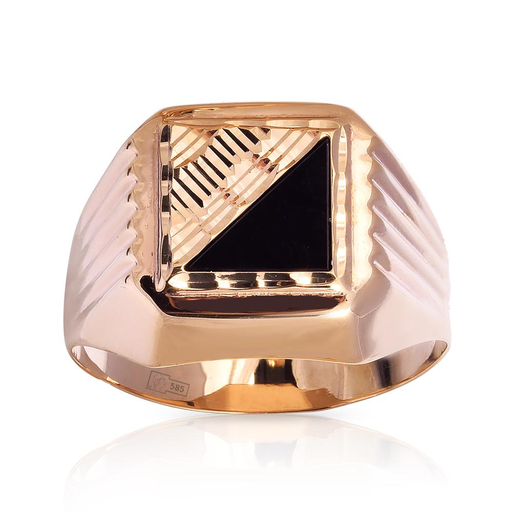 Кольцо-печатка с фианитами