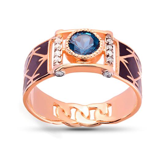 Кольцо-печатка из золота с топазом и бриллиантами