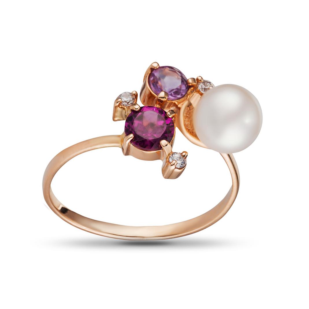 Кольцо с жемчугом, аметистом и родолитом из золота