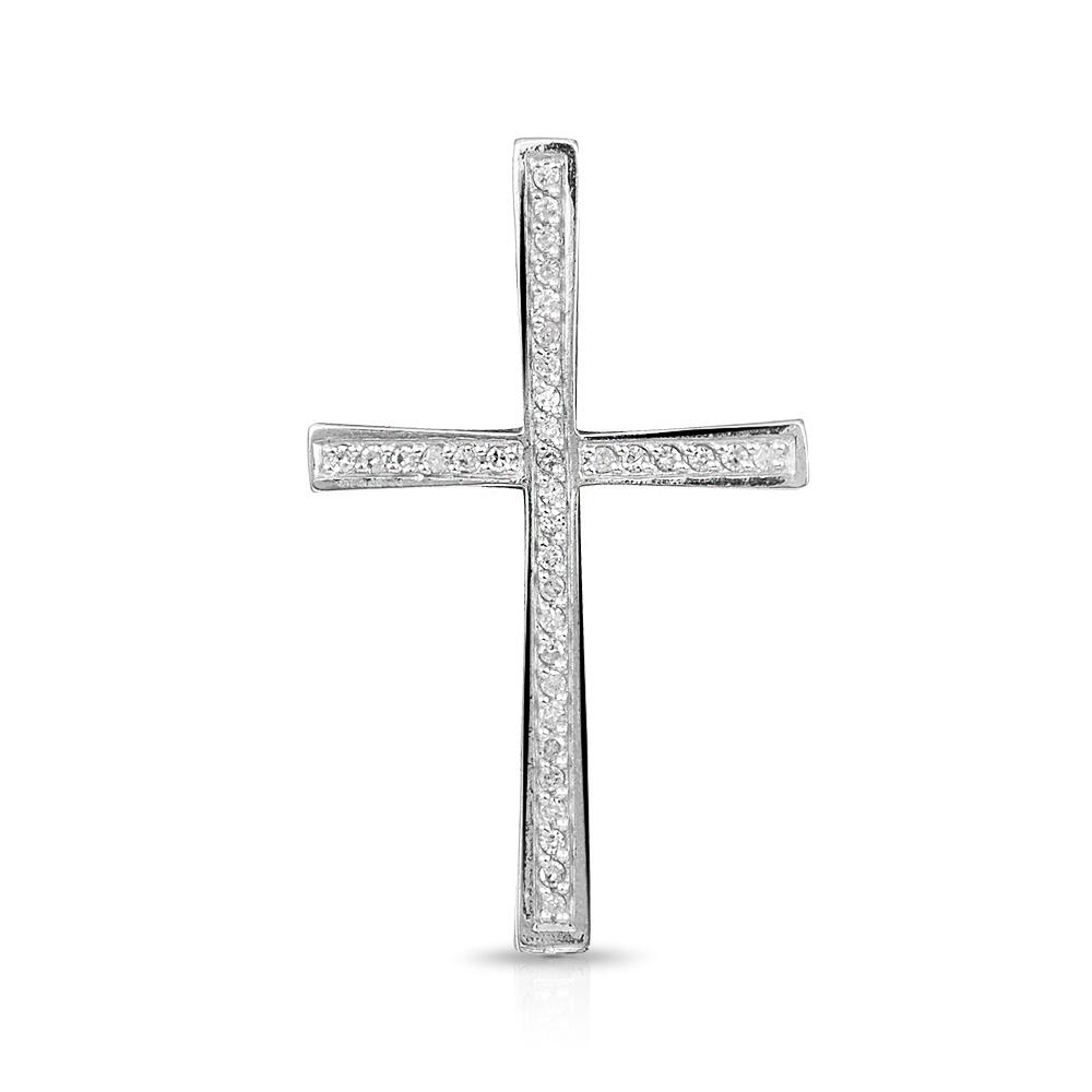 Подвеска-крестик из белого золота с бриллиантами