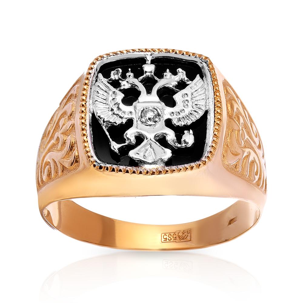 Кольцо-печатка с ониксом и бриллиантами из золота