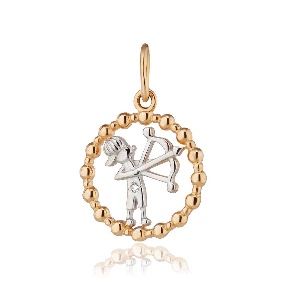 Подвеска из золота с фианитом, знак зодиака Стрелец