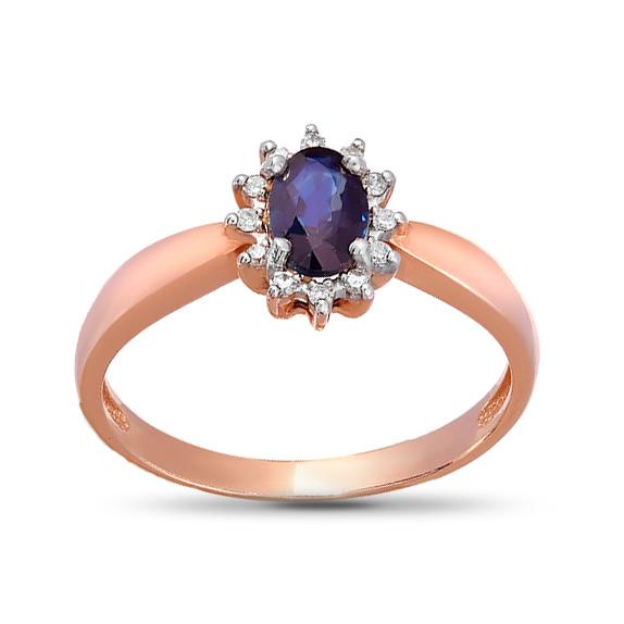 Кольцо из золота с бриллиантами и сапфиром
