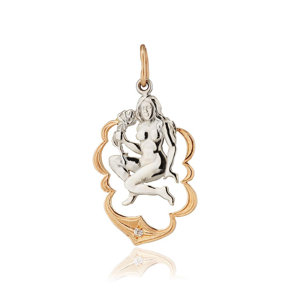 Подвеска из золота с фианитом, знак зодиака Дева