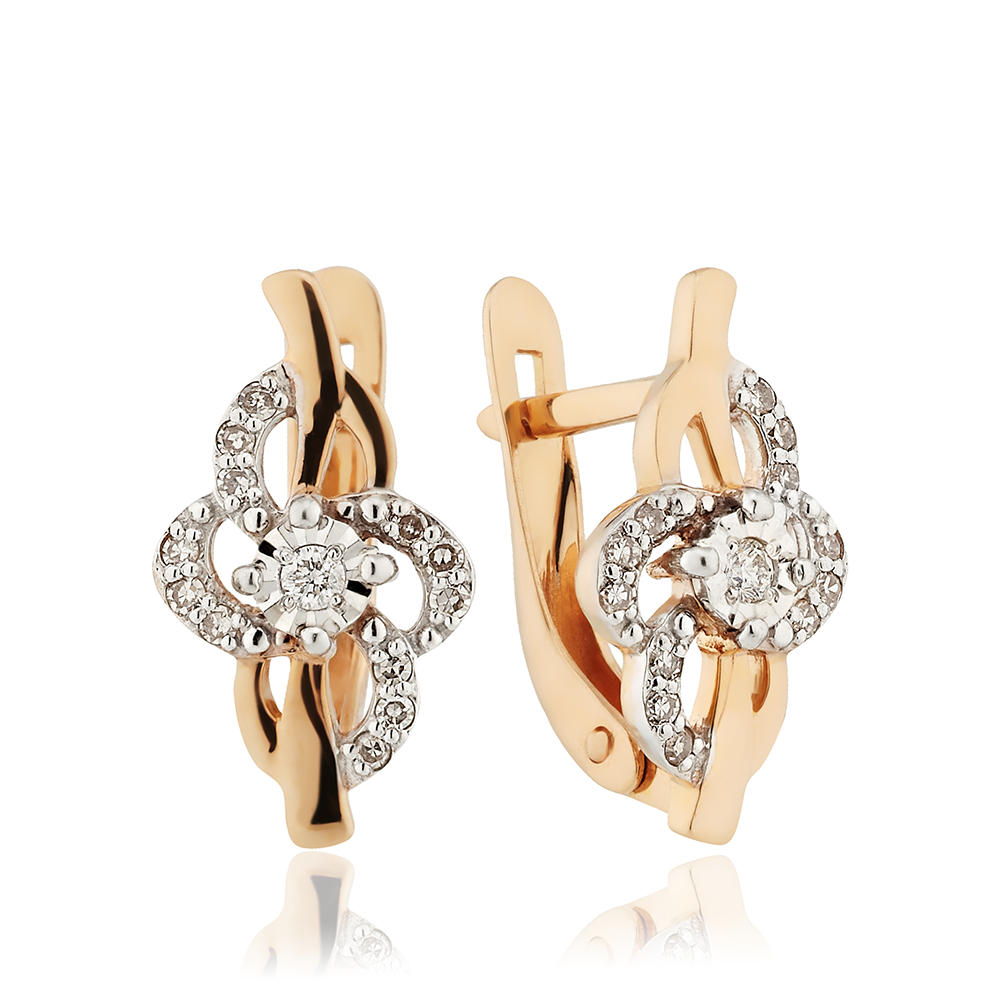 Серьги с бриллиантами и алмазной гранью