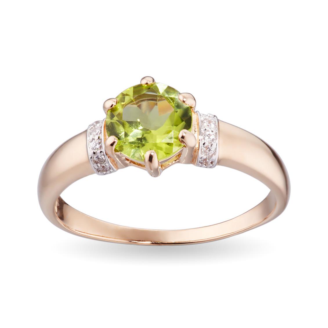 Кольцо с хризолитом и фианитами из золота
