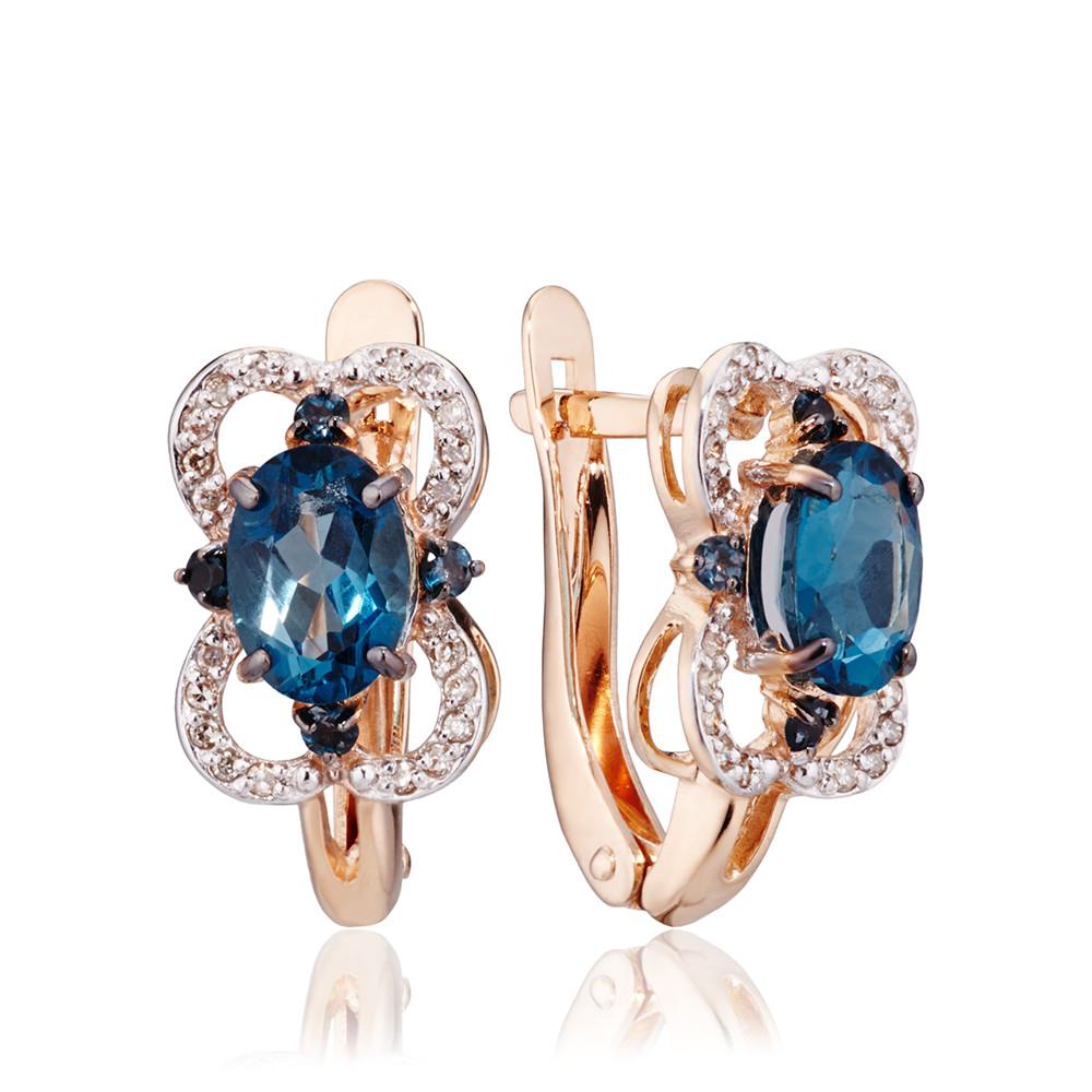 Серьги с топазами london и бриллиантами