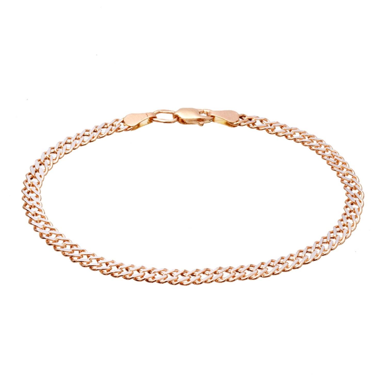 Золотой браслет пустотелый с родированием, плетение ромб