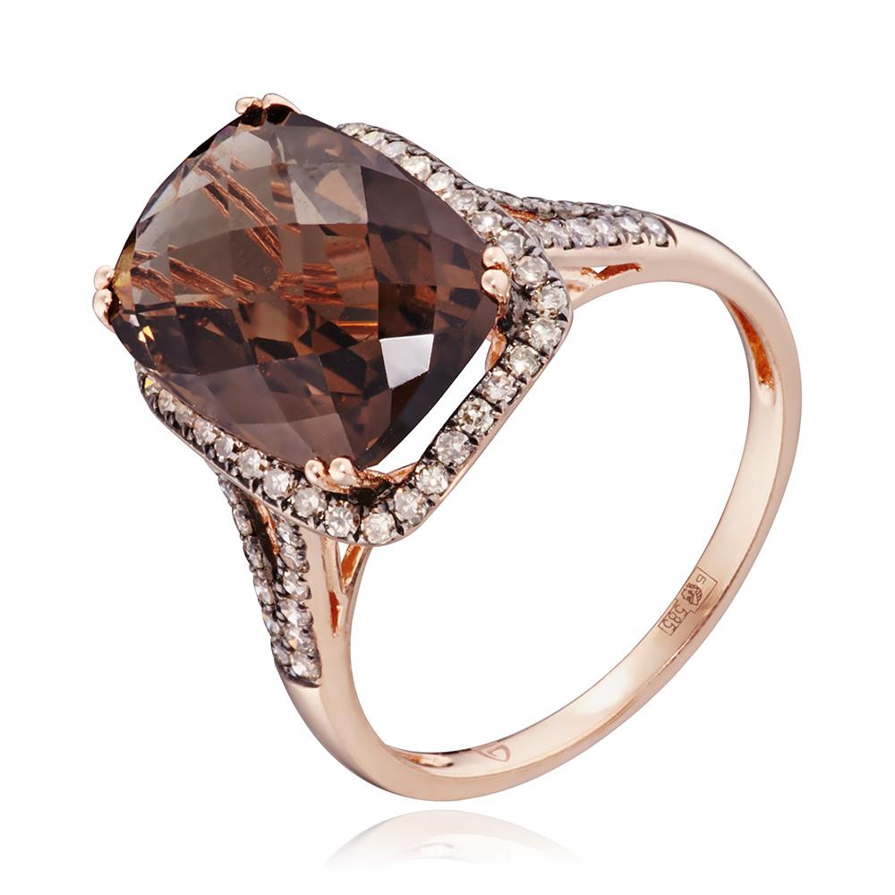 Кольцо с раух-топазом и коньячными бриллиантами