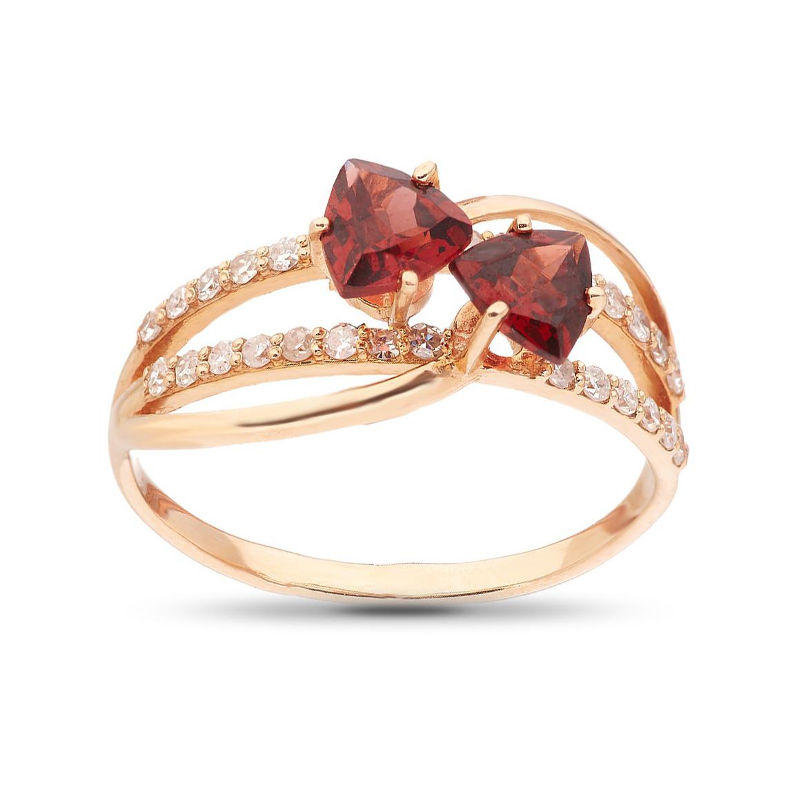 Кольцо из золота с бриллиантами и гранатами
