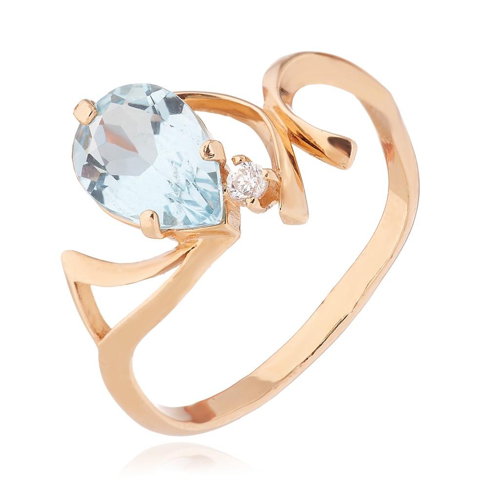 Кольцо с топазом и фианитом из золота
