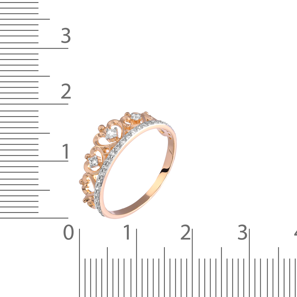 Кольцо с фианитами и родированием