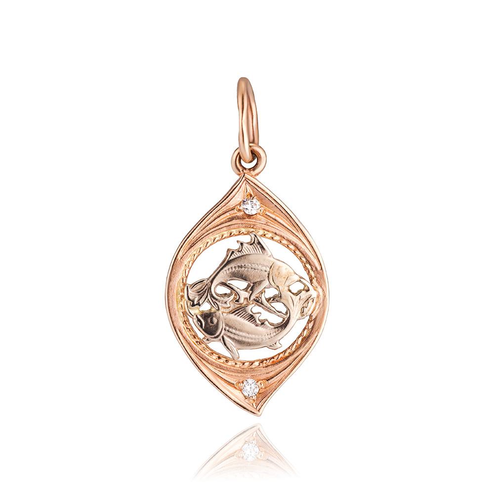 Подвеска из золота с фианитами, знак зодиака Рыбы