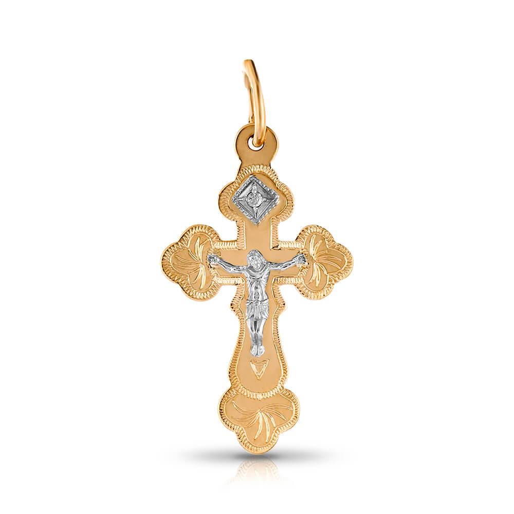 Крестик с бриллиантом из золота