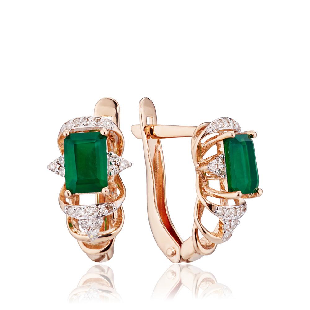 Серьги с зеленым агатом и бриллиантами
