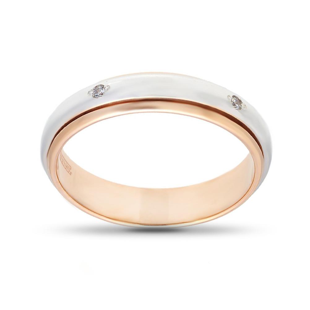 Кольцо обручальное из золота с фианитами, 4 мм
