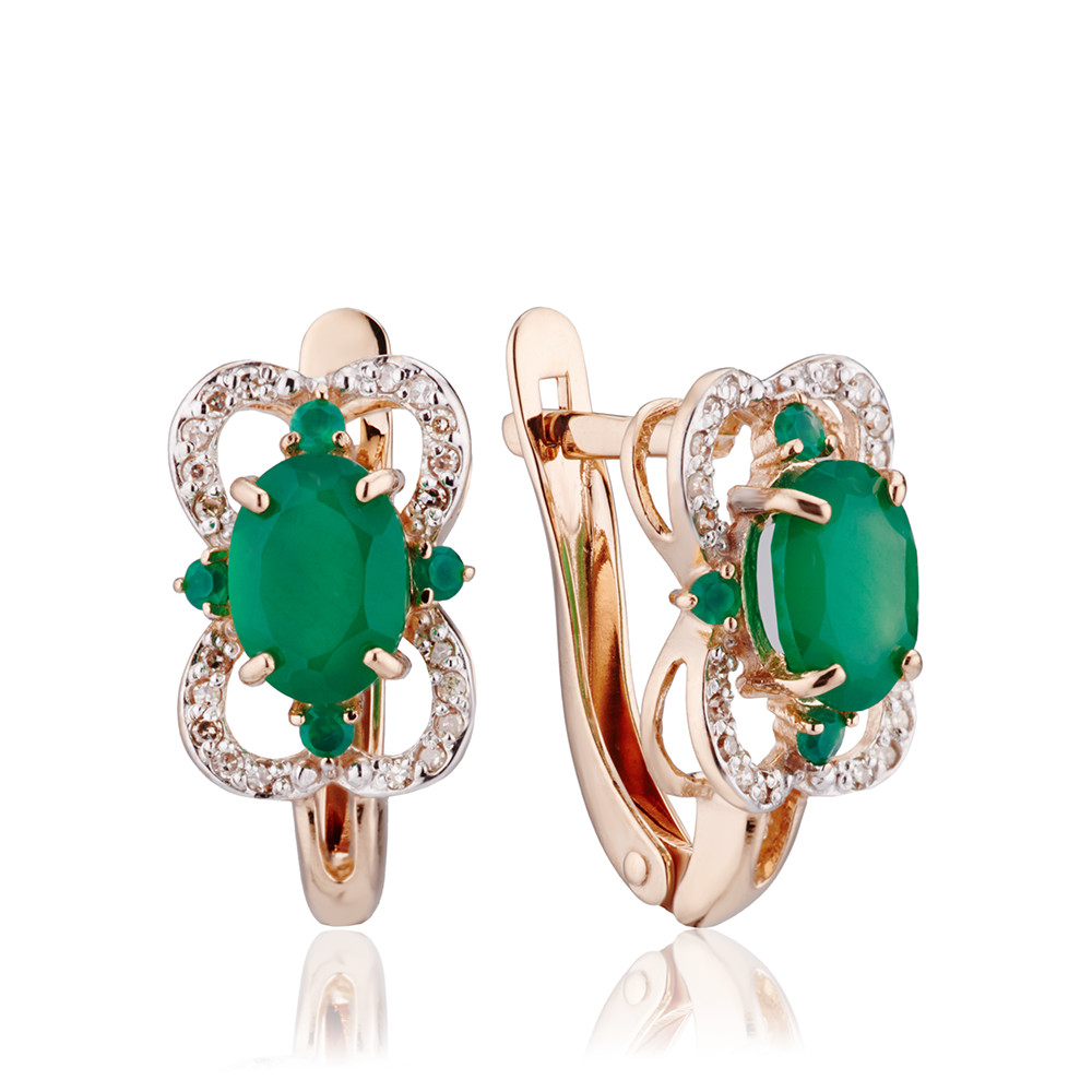 Серьги с зелёным агатом и бриллиантами