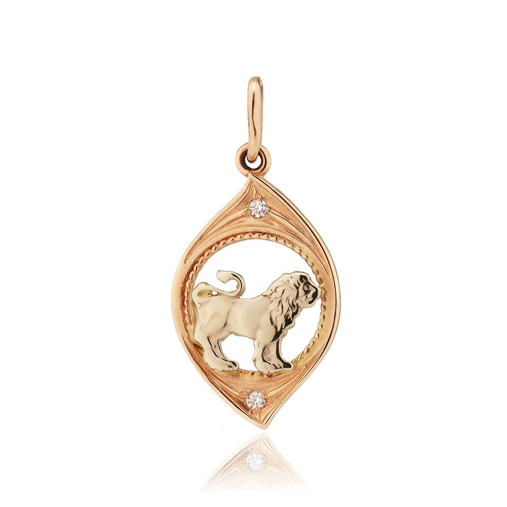 Подвеска из золота с фианитами, знак зодиака Лев