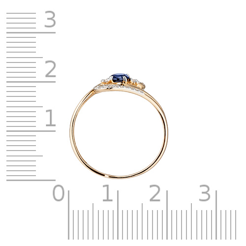 Кольцо сапфирами корунд (синтетическими), бриллиантами и родированием