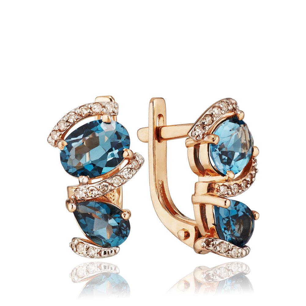 Серьги с бриллиантами и топазами London