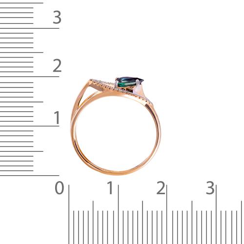 Кольцо с сапфиром, бриллиантами и родированием