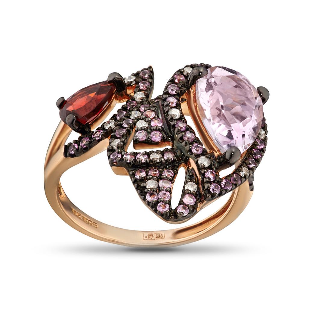 Кольцо из золота с сапфирами, бриллиантами и цветными полудрагоценными камнями