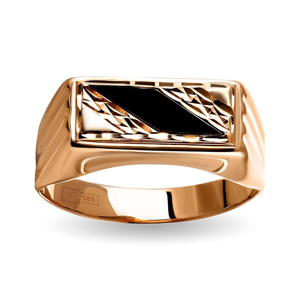 Кольцо-печатка с фианитами из золота
