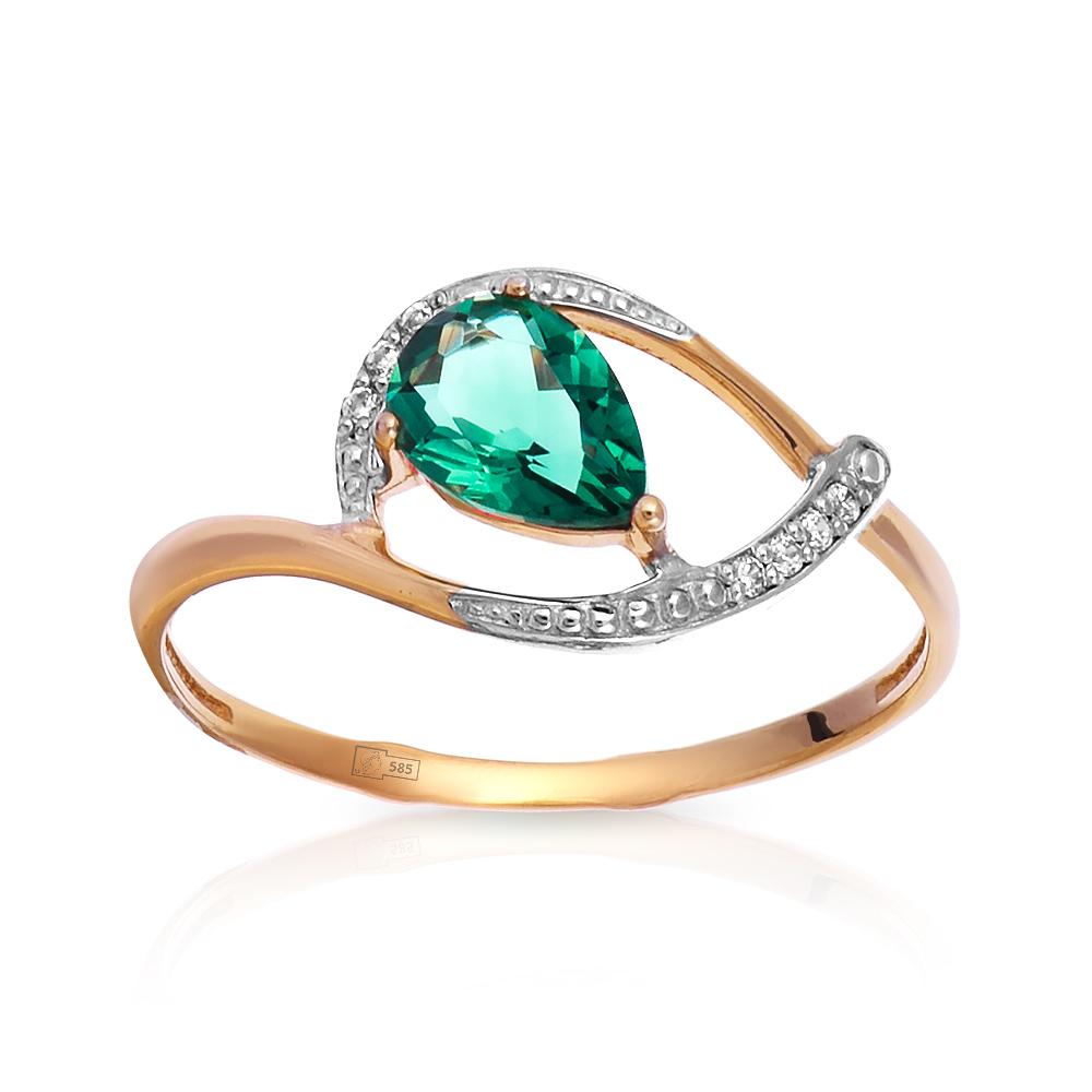 Кольцо с кварцем и фианитами из золота
