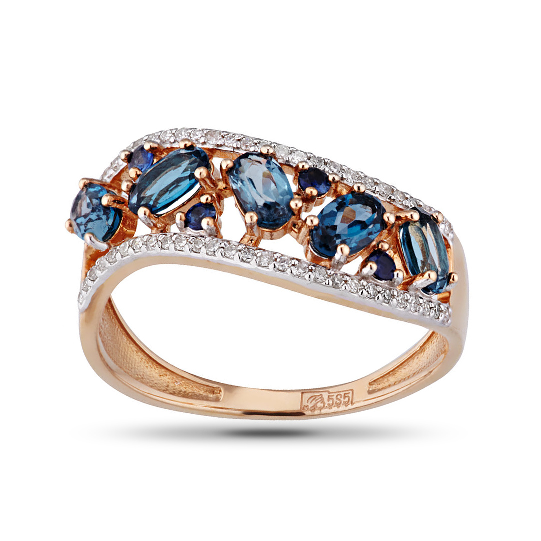Кольцо из золота с топазами, сапфирами и бриллиантами