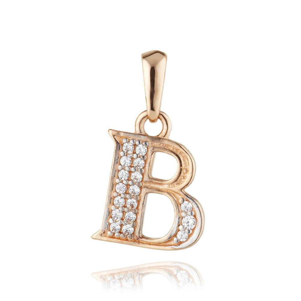 Подвеска из золота буква В с фианитами
