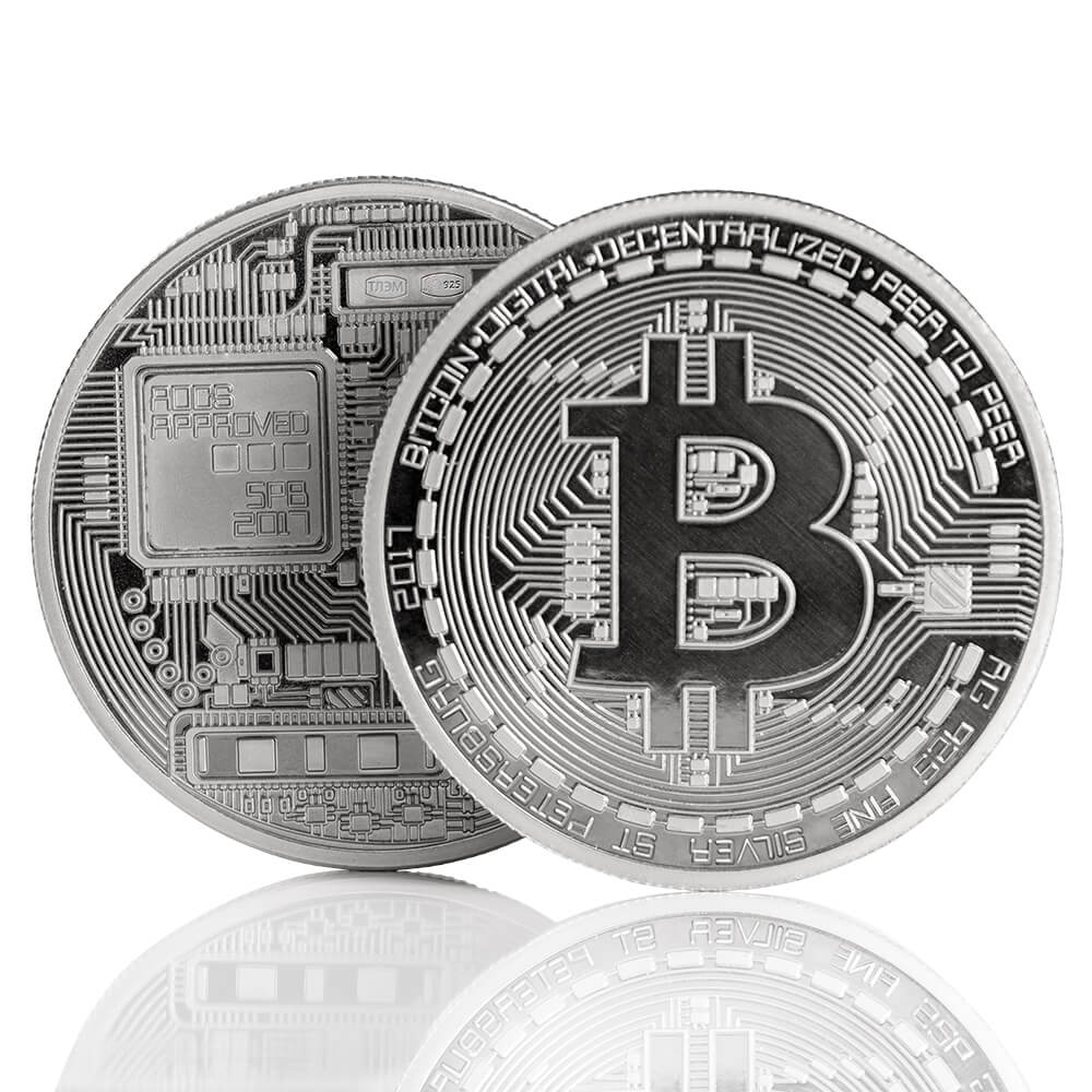 Монета биткоин  из серебра