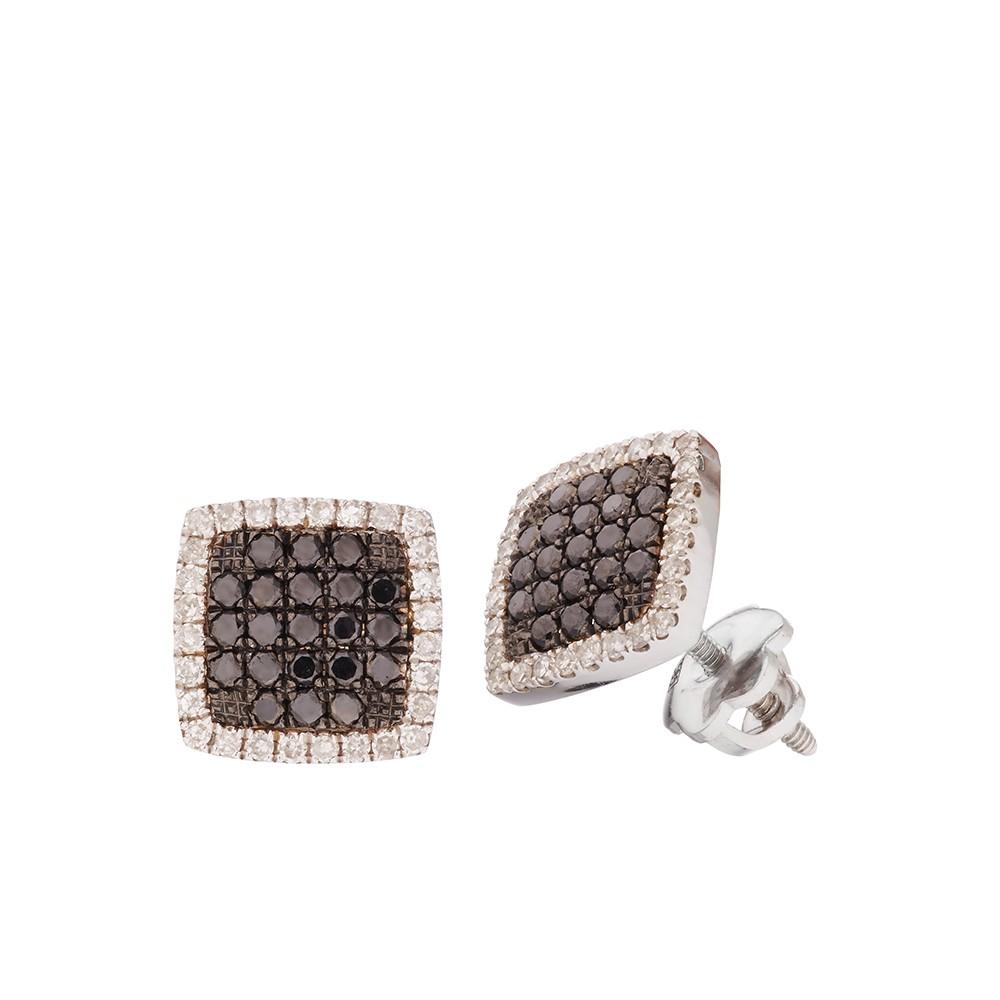 Серьги-пусеты с черными и белыми бриллиантами