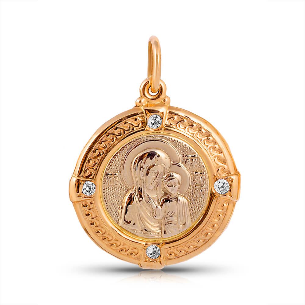 Подвеска-икона из золота с фианитами