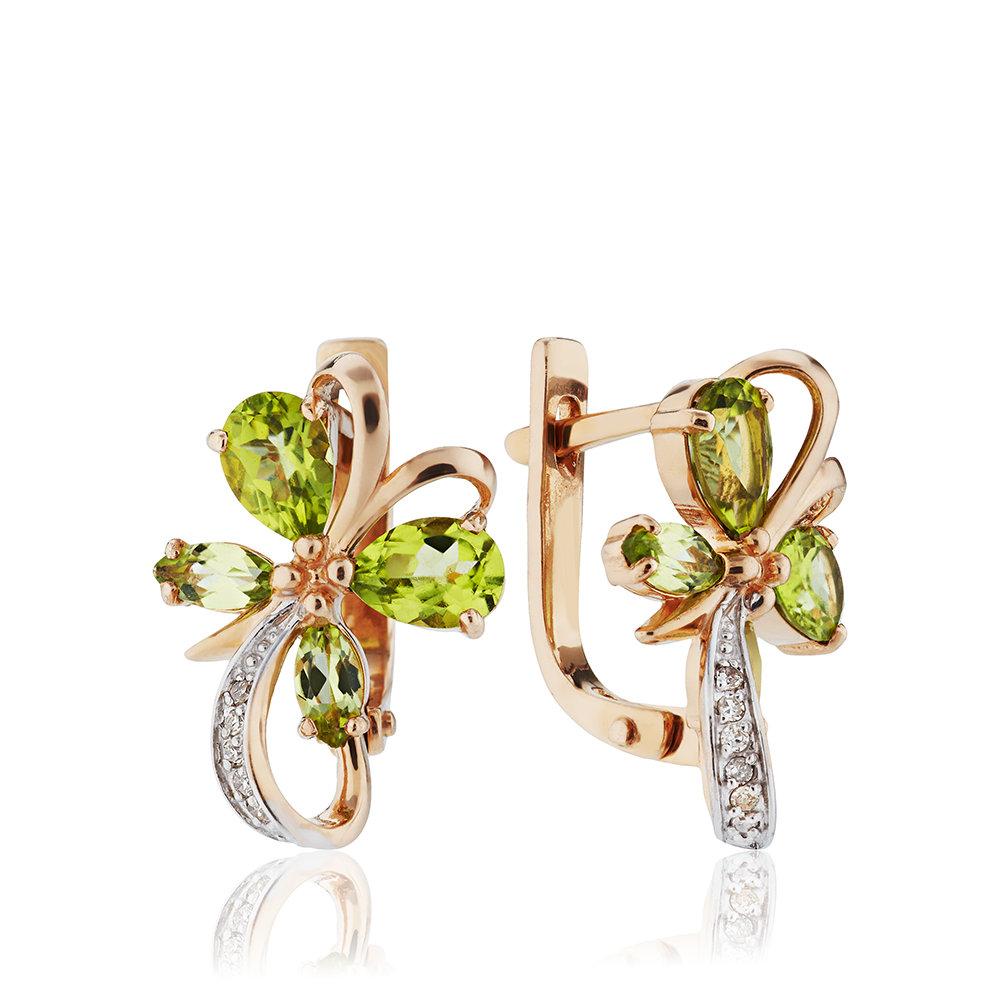 Серьги из золота с хризолитами и бриллиантами