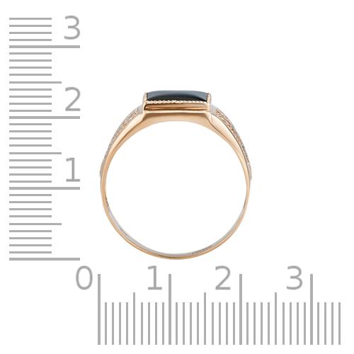 Кольцо-печатка с агатом, фианитами и родированием