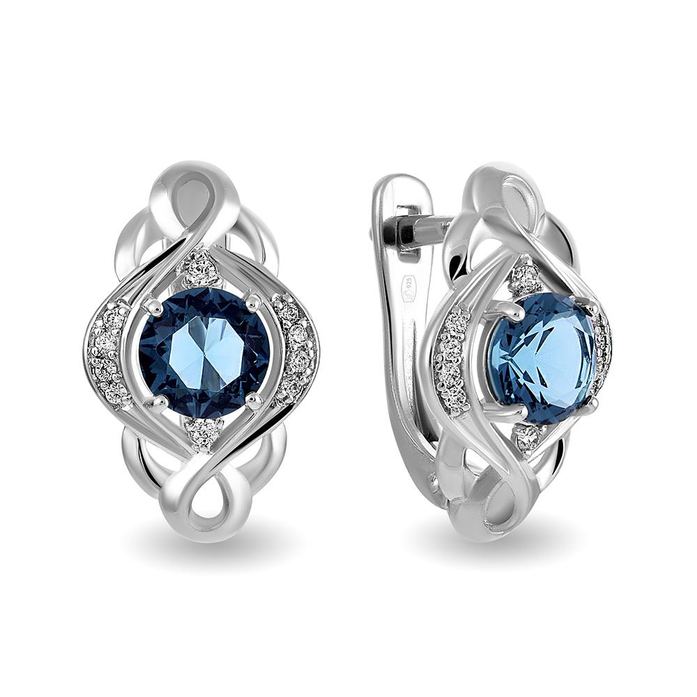 19094f77ccb2 Серьги с ювелирным кристаллом и фианитами из серебра — Ювелирный ...
