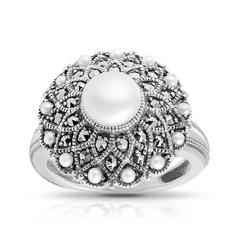 Кольцо с жемчугом, микрожемчугом и марказитом из серебра