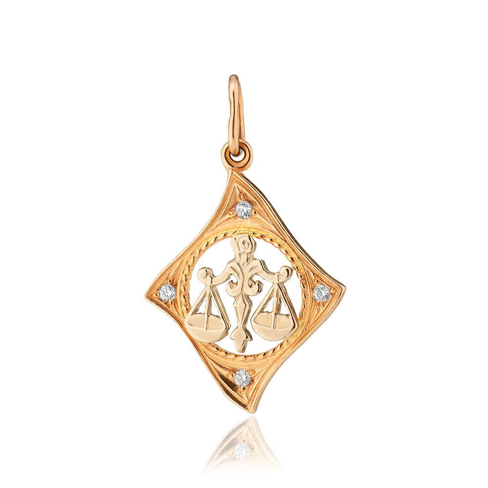 Подвеска из золота с фианитами, знак зодиака Весы