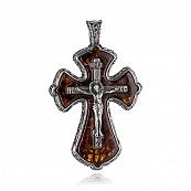 Крестик с янтарём и чернением