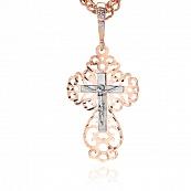 Крест с фианитами, алмазной гранью и родированием
