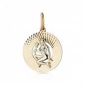 Подвеска знак зодиака Дева с алмазной гранью и родированием