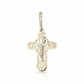 Крестик с бриллиантом, алмазной гранью и родированием